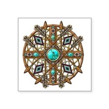 "Beads and Arrows Mandala Square Sticker 3"" x 3"""