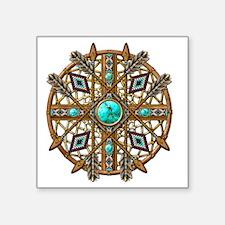 "Beads and Arrows Mandala Square Sticker 3"" x 3"""