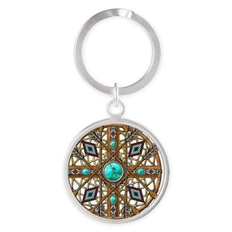Beads and Arrows Mandala Round Keychain