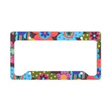 Retro Flowers Bags License Plate Holder