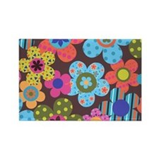 Retro Flowers Bags Rectangle Magnet