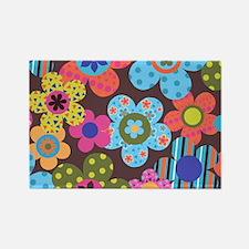 Retro Flowers Bags Rectangle Magnet