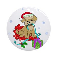 Christmas Puppy Merry Christmas Red Round Ornament