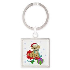 Christmas Puppy Merry Christmas Re Square Keychain