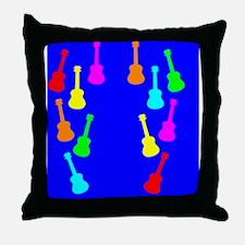 rainbow ukuleles and ukes on flip flo Throw Pillow
