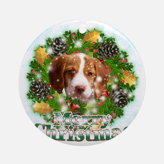 Merry Christmas Brittany Spaniel Round Ornament