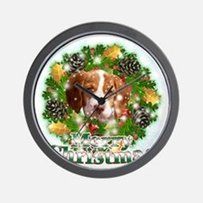Merry Christmas Brittany Spaniel Wall Clock