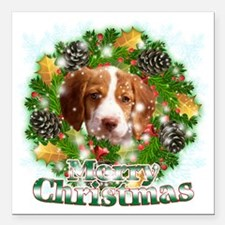 "Merry Christmas Brittany Square Car Magnet 3"" x 3"""