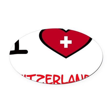 i heart maps switzerland Oval Car Magnet