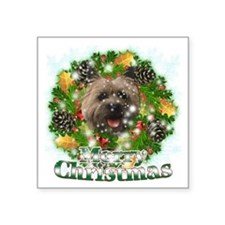 "Merry Christmas Cairn Terri Square Sticker 3"" x 3"""