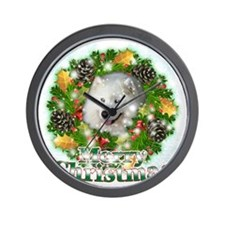 Merry Christmas Samoyed Wall Clock