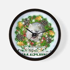 Merry Christmas Samoyed Wall Clock
