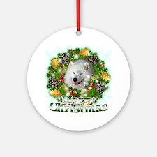 Merry Christmas Samoyed Round Ornament