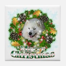 Merry Christmas Samoyed Tile Coaster