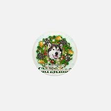 Merry Christamas Alaskan Malamute Mini Button