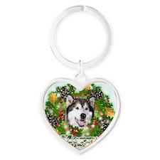 Merry Christamas Alaskan Malamute Heart Keychain