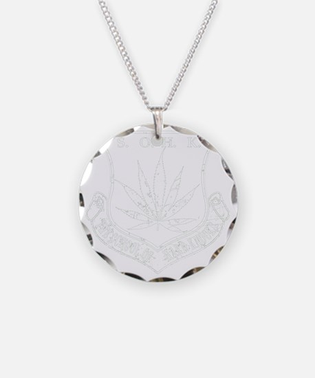 SOHK Weed White Distressed Necklace Circle Charm