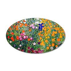Klimt Flowers Beach 35x21 Oval Wall Decal