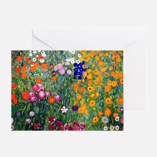 Klimt Flowers Beach Greeting Card