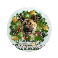 Merry Christmas Akita Round Ornament