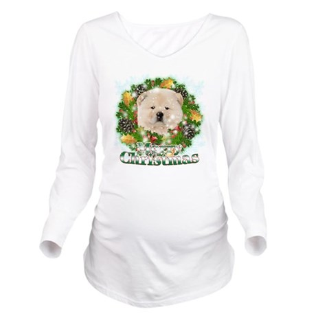 Merry Christmas Chow Long Sleeve Maternity T-Shirt