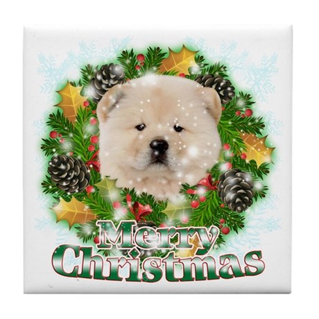 Merry Christmas Chow Chow Tile Coaster