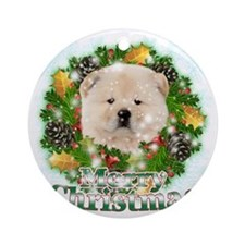 Merry Christmas Chow Chow Round Ornament