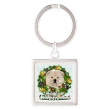 Merry Christmas Chow Chow Square Keychain