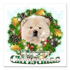"Merry Christmas Chow Cho Square Car Magnet 3"" x 3"""