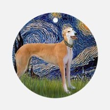 Square-Starry-Greyhound Music-stand Round Ornament