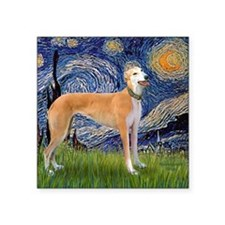 "Square-Starry-Greyhound Mus Square Sticker 3"" x 3"""