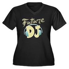 FutureDJ Women's Plus Size Dark V-Neck T-Shirt