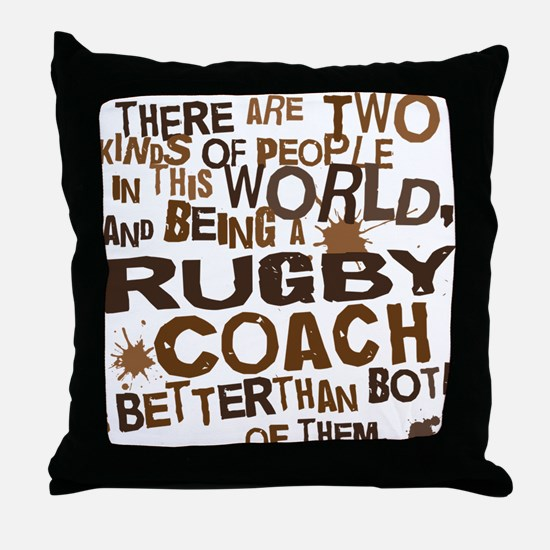 rugbycoachbrown Throw Pillow