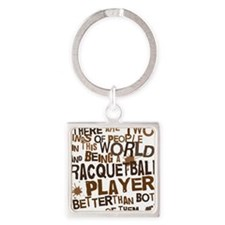 raquetballplayerbrown Square Keychain
