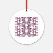 PinkHopeBflyMPptr Round Ornament