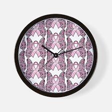 PinkHopeBflyMPptr Wall Clock