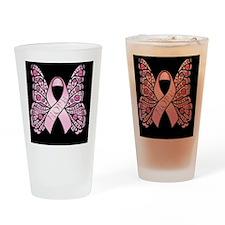 PinkHopeBflyBsq Drinking Glass