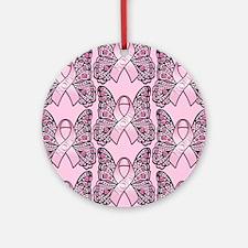 PinkHopeBflyPp460ip Round Ornament