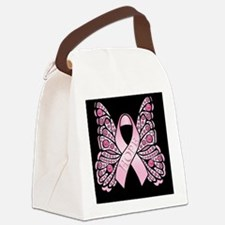 PinkHopeBflyjrB Canvas Lunch Bag