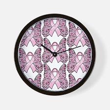 PinkHopeBflyP460ipTr Wall Clock