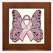 PinkHopeButterflyBtr Framed Tile