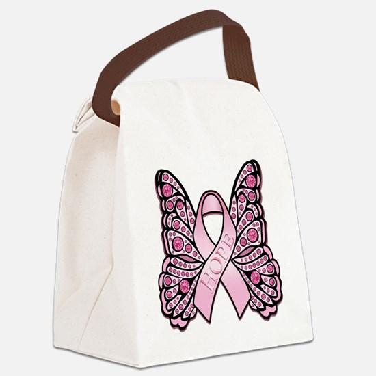 PinkHopeButterflyBtr Canvas Lunch Bag