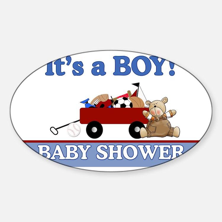 Its a Boy baby shower yard sign Sticker (Oval)