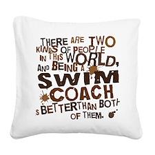 swimcoachbrown Square Canvas Pillow