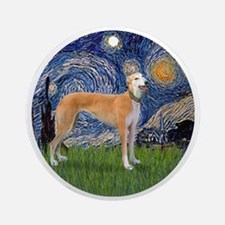 R-Starry-Greyhound (M-stand))-BIG Round Ornament