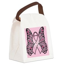 PinkHopeBflyPsq Canvas Lunch Bag