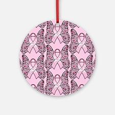 PinkHopeBflyPpsq Round Ornament