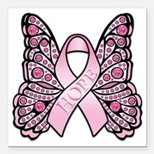 "PinkHopeButterflyWsTR Square Car Magnet 3"" x 3"""