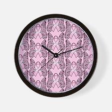 PinkHopeBflyPPFlipFl Wall Clock