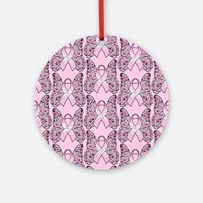 PinkHopeBflyPPFlipFl Round Ornament